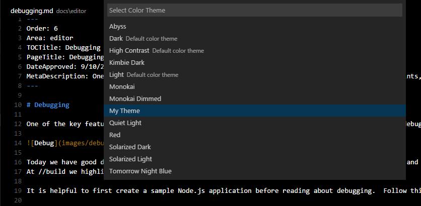 Themes - vscode-docs